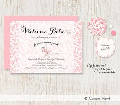 Baby Shower Invitation  French Influence  Bebe  by customaed