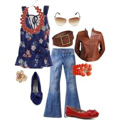 Sapphire and Coral Floral, created by #theatttachedmama on #polyvore.   really love.