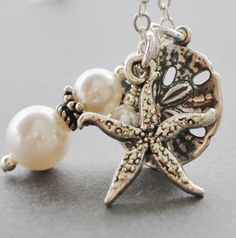 Silver Sand Dollar Necklace White Pearl by MyDistinctDesigns