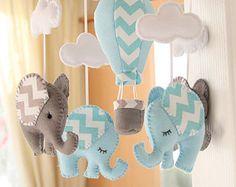 Kindergarten Mobile - Mobile Baby - blau/grau - Elefant-Mobile - Heißluftballon - KUNDENSPEZIFISCH KONFEKTIONIERT