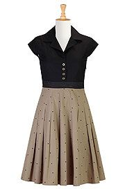 Dotted retro poplin shirtdress - See The Link - They will custom tailor this dress for very little... Wowza!