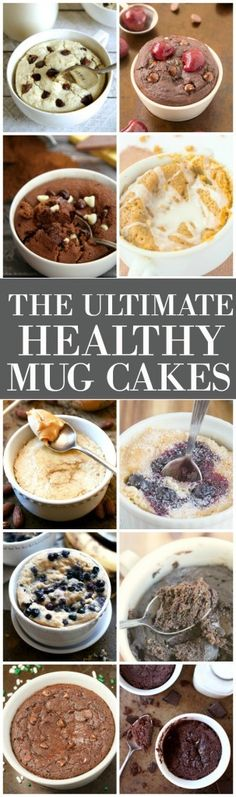 The Ultimate Healthy and delicious mug cakes EVER! SO easy and ALL made with NO butter, NO oil, NO white flour and NO sugar! - thebigmansworld.com Healthy Mug Cakes, Easy Healthy Deserts, Vegan Mug Cakes, Fast And Easy Desserts, Healthy Cake Pops, Healthy Mug Recipes, Paleo Mug Cake, Easy Mug Cake, Fast Recipes