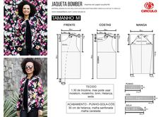 Aprenda a fazer essa inda Jaqueta Bomber utilizando o tecido tricoline com a estapa floral. Essa é uma dica super legal e mui... Easy Sewing Patterns, Clothing Patterns, Dress Patterns, Jacket Pattern, Top Pattern, Kimono Jacket, Jacket Dress, Model Outfits, Fashion Outfits