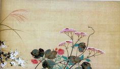 鈴木其一 Suzuki Kiitsu. Seven Flowers of Autumn. - Aki-no-nanakusa(秋の七草) one of a pair Japanese hanging scrolls. Nineteenth century. Rinpa School.