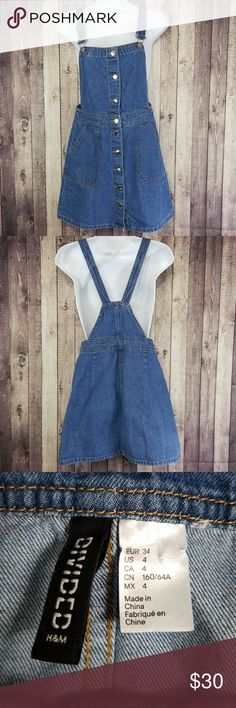Divided button down denim overall dress EUC Divided by H&M blue denim overall dress. Buttons all the way down the front. 2 front pockets. 100% cotton. Divided Jeans Overalls