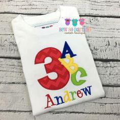 1st Birthday Alphabet Shirt  Baby Boy Birthday ABC by SewSoDarling