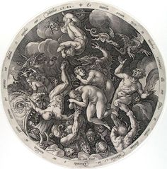 """Hendrick Goltzius, """"The Descent to Hell of the Damned"""" (1577), engraving"""