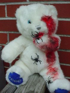 ooak Gothic horror halloween 16 inch zombie teddy bear spiders blood | eBay