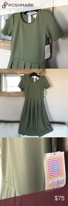 LuLaRoe Amelia NWT LLR Amelia dress, in olive & textured. This dress is so pretty and hangs perfectly! * Pair with my Sarah and some booties!* LuLaRoe Dresses