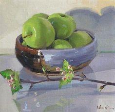 """Apple Bowl with Apple Blossoms"" - Original Fine Art for Sale - © Sarah Sedwick"
