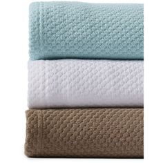 Lands' End Cotton Seed Stitch Blanket ($69) ❤ liked on Polyvore featuring home, bed & bath, bedding, blankets, blue, blue blanket, textured blanket, blue bedding, lands' end and textured bedding