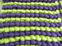 Tunisian Crochet - lapel - Color Changing right - even Kraus stitch (IN GERMAN - If you are familiar with Tunisian Crochet you can watch this video to learn this stitch... The video is very good... Deb)