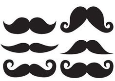 Moustache Template, varying styles and sizes. Pick the style you like, and print off!