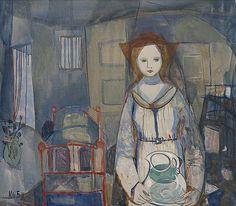 Woman with water jug - Kai Fjell Fauvism, Scandinavian Art, Global Art, Art Market, Cool Artwork, Norway, Kai, Illustration Art, Auction