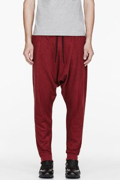 Balmain Burgundy Linen Biker Harem Pants for men | SSENSE