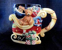 Certified International Susan Winget Large Christmas Mug Cup Santa's Sleigh #CertifiedInternational
