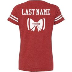 Are you a girl who loves football? Customize your very own football sports t-shirt by adding any last name to the back. This design has a big bow with a football lace on it. Great for football moms, sisters, girlfriends and more!