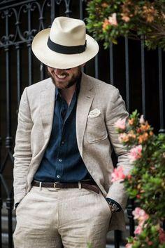 chapeu panama blazer costume linho Chapéus Masculino 23f6b06874f