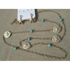 """Long Gold Turquoise 36"""" Chain Layer Necklace Starfish Accent Medallions Earring Beach Jewelry Set"""