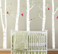 Summer Birch Tree Forest and Birds Wall Decal by InAnInstantArt, $94.00