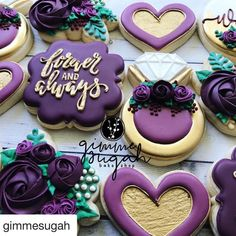 Her colors are purple and purple. My ca'lahs are plum and wine, Momma! Sneak peek of a pretty magical day for sugahs with ❤️. I can hardly wait to share! Purple Cookies, Fancy Cookies, Valentine Cookies, Iced Cookies, Cute Cookies, Sugar Cookies, Cupcakes, Cupcake Cookies, Anniversary Cookies