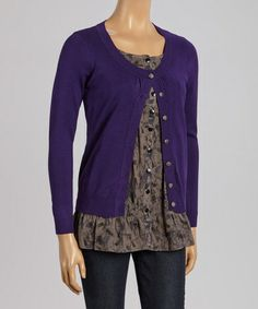 Look what I found on #zulily! Purple Scoop Neck Cardigan & Top #zulilyfinds