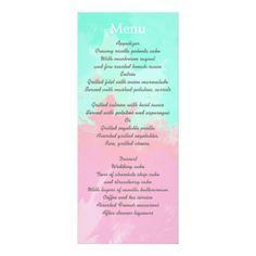 Summer Pink Teal Watercolor Wedding Menu Card