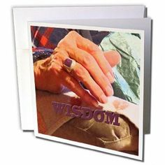 gc_182150_2 Jos Fauxtographee- Words - An elderly mans hand with a purple ring and the word Wisdom - Greeting Cards-12 Greeting Cards with e...