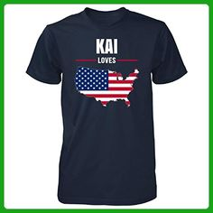 Kai Loves Usa 4th July Independence Day Gift - Unisex Tshirt Navy S - Holiday and seasonal shirts (*Amazon Partner-Link)