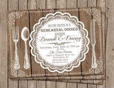 Rehearsal Dinner, party, rustic, wood, lace, Digital file, Printable on Etsy, $15.00