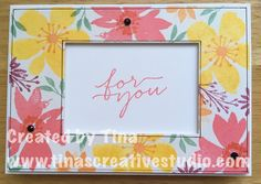 Blooms & Wishes stamp set from Stampin' Up! The centre of the panel was cut out using a Framelits die and used on another card. #papercraft #stamping #cardmaking #stampinup #stampinupaustralia #tinascreativestudio
