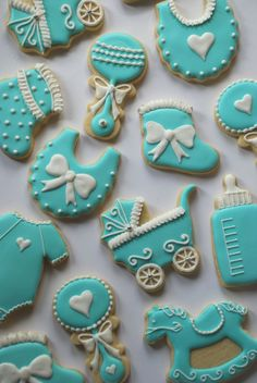 TIffany Inspired Decorated Baby Cookies