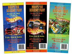 Hot Wheels Admit one ticket style Boys by lovelypapercreations, $0.85