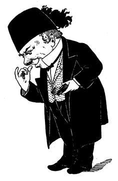 Snuff taker.  Victorian clip art.