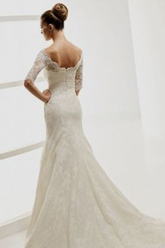 New Arrival Wedding Dresses Trumpet/Mermaid V Neck Sweep/Brush Train Lace Mid Length Sleeve LPPP42C4KH - LovingProm.com for mobile