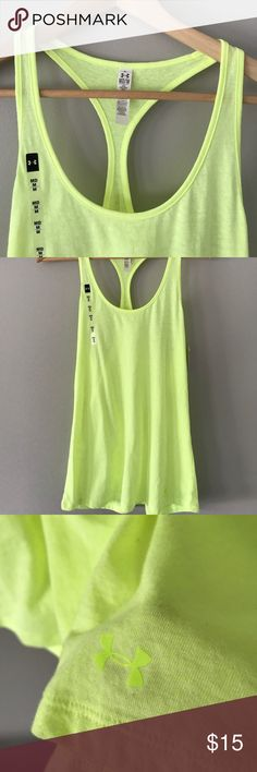 NWOT Under Armour Size M Tank 💚 NWOT never worn or used, Under Armour Loose Fit Size Medium tank top. 55% cotton / 34% polyester. Color is a neon yellow / lime green. Under Armour Tops Tank Tops