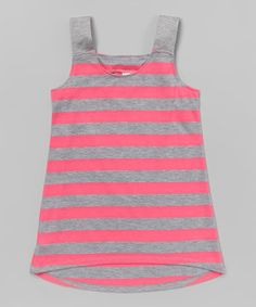 This Neon Pink & Gray Stripe Tank - Girls by Erge is perfect! #zulilyfinds
