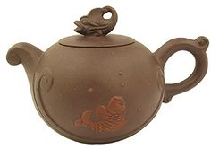 Purple yixing teapot with simple elegant fish and water design