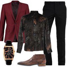 Per questo look elegante ho scelto pantalone nero slim, camicia Etro in fantasia a stampa, giacca skinny fit, stringate cognac e orologio Guess. Sarete perfetti per un party o una cerimonia serale.