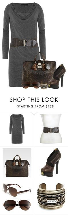 """""""Untitled #261"""" by partywithgatsby ❤ liked on Polyvore featuring Donna Karan, Gucci, Fendi, DANNIJO, ankle boots, platform heels, top handle bags, big bangles, aviator sunglasses and wide belts"""