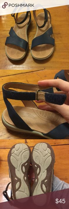 """Acorn """"Vista Ankle"""" Sandals Beautifully constructed sandal made with real leather uppers. These are extremely lightweight yet sturdy! They have a very comfortable padded insole with a bit of an arch support.   They have a durable cork-look, rubber non-skid sole with an adjustable Velcro ankle strap.  Color: Navy Suede / Tan Leather  Worn once, but in great condition. **scuff on right shoe, barely visible (see photo)** Acorn Shoes Sandals"""