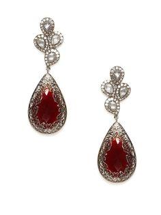 Stone Cluster & Red Onyx Teardrop Earrings