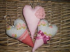 shabby chic fabric hearts
