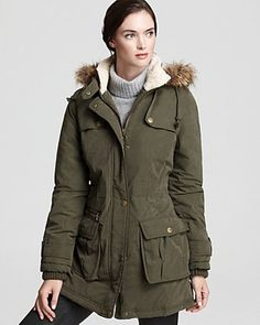 Just found this Gem at WINNERS!---DKNY Green Anorak with Faux Fur Trim Hood