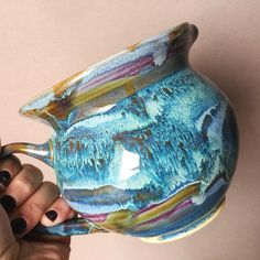 I love the bit of purple peeking out from behind the blue here and there! Regram via @elanpottery
