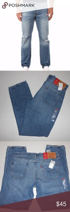 NWT LEVI'S ATHLETIC FIT JEANS W34 L34 FINAL PRICE! New with tags! Athletic fit straight leg destroyed distressed 100% cotton jeans. Size Men's W34 L34. See last pic for measurements. MSRP $68! Purchased for my son a while back and they don't dig him :/ Levi's Jeans Straight