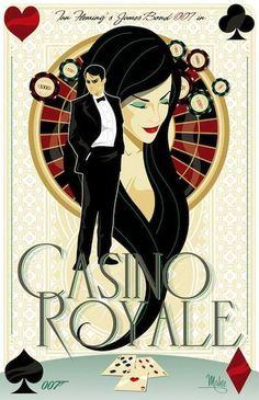 Beautifully illustrated poster Of James Bond in Casino Royale. James Bond Casino Royale, Casino Royale Movie, Casino Movie, James Bond Movie Posters, James Bond Movies, Sharon Stone, Casino Night Party, Casino Theme Parties, Zona Musical