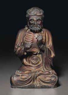 明十七世紀   木胎漆金羅漢坐像