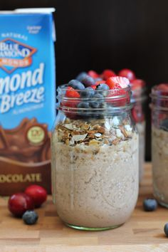 Whip up these super EASY and delicious Chocolate Almond Smoothie Parfaits! So easy to make and sooooo good! #ad