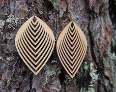 Drop géométriques Laser coupe bois boucles d'oreilles